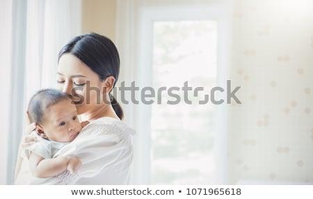 Moeder zoenen baby portret liefhebbend Stockfoto © dariazu
