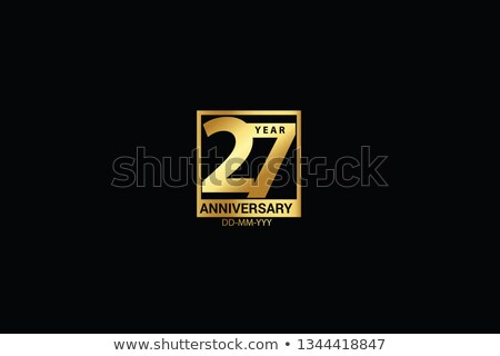 27th anniversary celebration badge label in golden color Stock photo © SArts