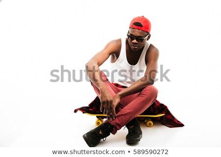 серьезный · молодые · африканских · спортсмен · сидят · черный - Сток-фото © deandrobot