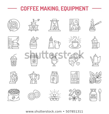 vector line icons of coffee making equipment elements   moka pot french press grinder espresso stock photo © nadiinko
