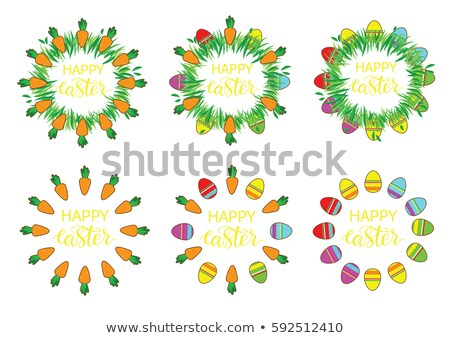 easter label with banny and carrots happy easter stickers pin stock photo © vasilixa
