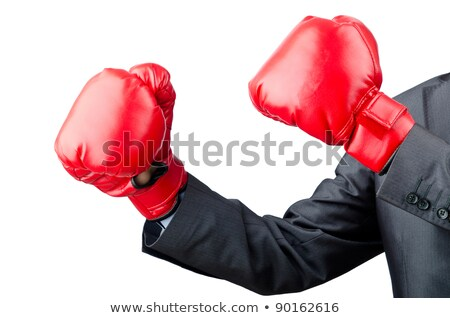 Aggressive businessman with boxing gloves isolated on white Stock photo © Elnur