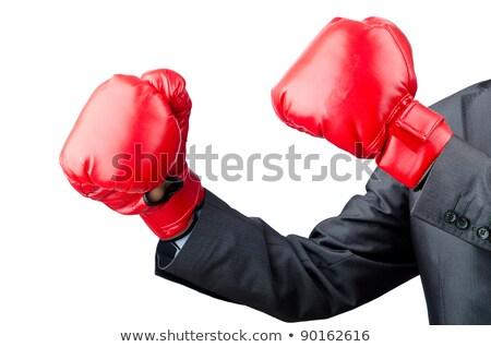 Aggressivo imprenditore guantoni da boxe isolato bianco business Foto d'archivio © Elnur