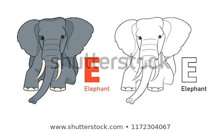 Animais alfabeto carta azul elefante aprendizagem Foto stock © robuart