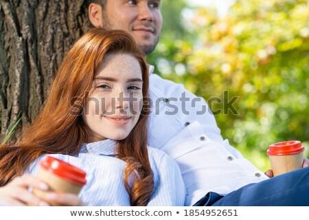 Romantikus portré fiatal vörös hajú nő lány ül Stock fotó © lithian