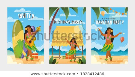 Hawaiian woman with straw skirt Stock photo © adrenalina
