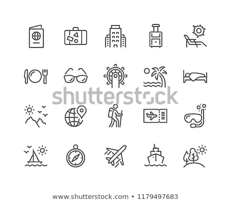 Stock photo: Summer vacation travel thin line vector icons