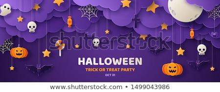 spinnenweb · tekst · gelukkig · halloween · wenskaart · geïsoleerd - stockfoto © pashabo