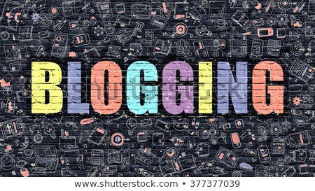 multicolor blogging on dark brickwall doodle style stock photo © tashatuvango