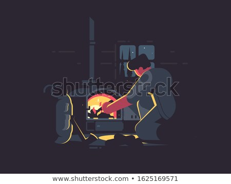 Stock photo: Traveler man warm by furnace