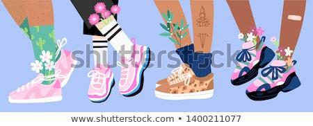 Men Cartoon Sneakers and Socks Illustrations Set Stock photo © robuart