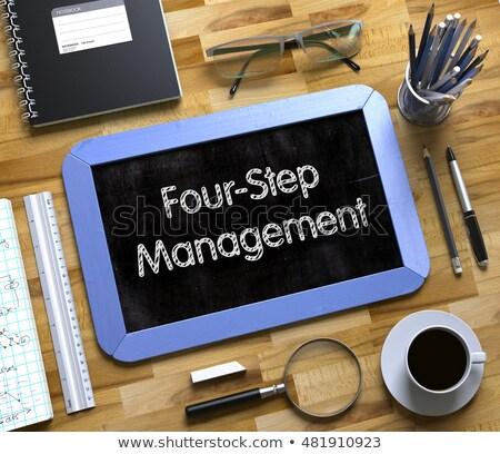 four step management   text on small chalkboard 3d illustration stock photo © tashatuvango