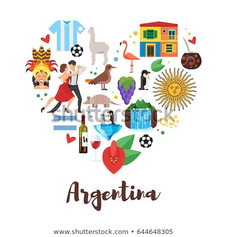 Argentína szív zászló vektor kép papír Stock fotó © Amplion