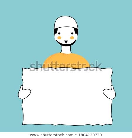 Arabes homme d'affaires blanche affiche vecteur Photo stock © NikoDzhi