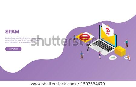 Landing pagina laptop e-mail veiligheid 3D Stockfoto © tashatuvango