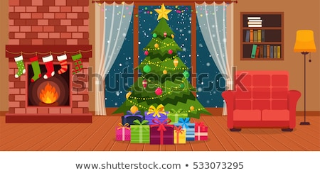Living room with christmas tree, couch and christmas bag Stock photo © wavebreak_media