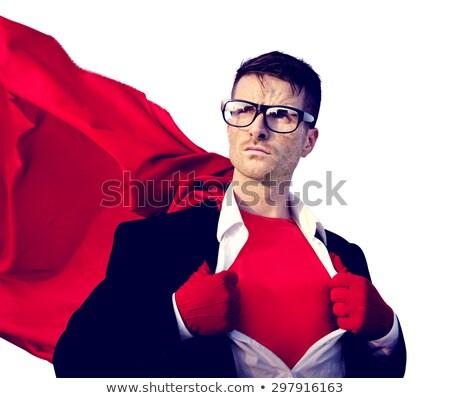 szuperhős · üzletember · nyitva · póló · apró · siker - stock fotó © elnur