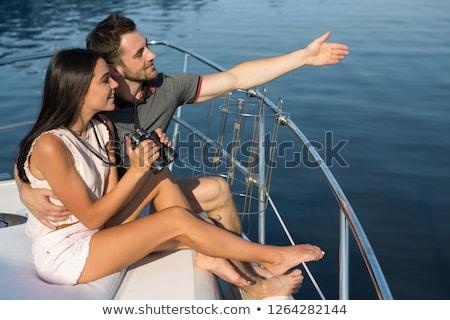 Adam kız arkadaş yelkenli çift tekne Stok fotoğraf © IS2