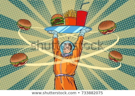 astronaut with a tray of fast food stock photo © studiostoks