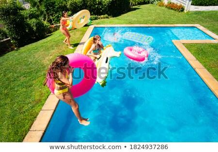 úszik · gyerekek · izolált · fehér · úszó · lány - stock fotó © rastudio