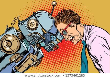mesterséges · intelligencia · robot · emberi · pop · art · retró · stílus · tudomány - stock fotó © studiostoks