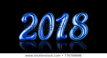 happy new year 2018 illustration with firework and 3d text on shiny blue background vector holiday stock photo © articular