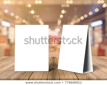 Mock up menu frame on table. 3D rendering Stock photo © user_11870380