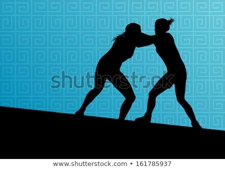 Vrouwelijke gladiator silhouetten ingesteld vector Stockfoto © Tawng