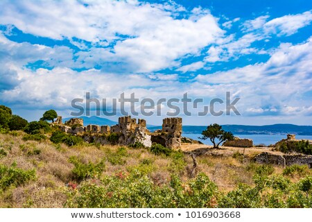 castillo · antigua · Grecia · vista · anuncio · pared - foto stock © ankarb