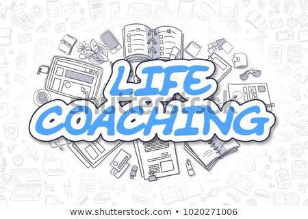 ストックフォト: 生活 · コーチング · いたずら書き · 青 · 文字 · ビジネス