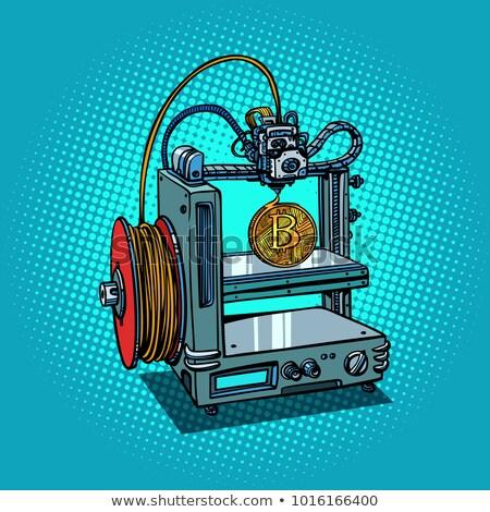 Foto stock: 3D · impressora · fabrico · bitcoin · desenho · animado