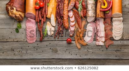 высушите · колбаса · специи · все · белый · лист - Сток-фото © milsiart