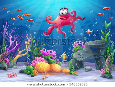 Underwater world red octopus and colored fishes Stock photo © orensila