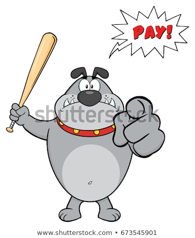 Stock foto: Angry Gray Bulldog Cartoon Mascot Character Holding A Bat And Pointing