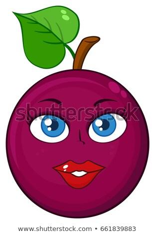 Tutku meyve kalp yaprak karikatür maskot karakter Stok fotoğraf © hittoon