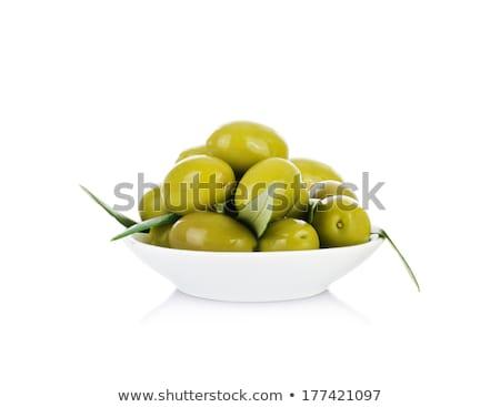 çanak yeşil zeytin beyaz meyve beyaz arka plan Stok fotoğraf © Digifoodstock