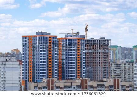 panorama · industriële · haven · container · kraan · schemering - stockfoto © tracer