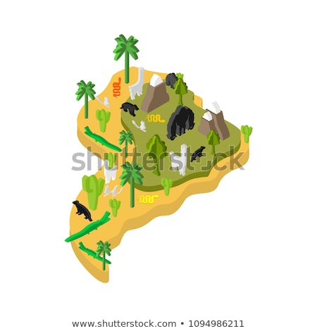 South America flora and fauna. Map Animals and plants on mainlan Stock photo © popaukropa