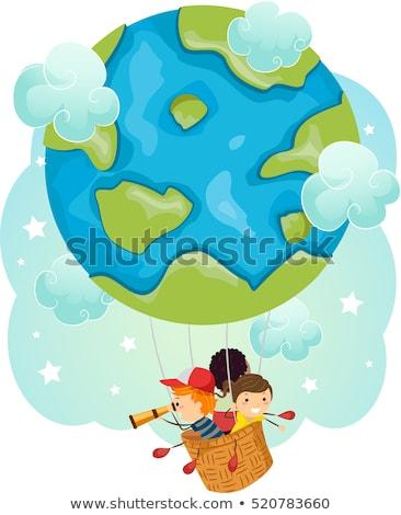 stickman kids earth air balloon travel stock photo © lenm