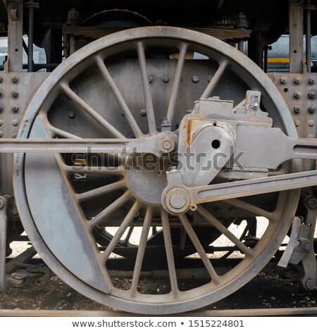 oude · zwarte · stoomlocomotief · wielen · spoorweg · track - stockfoto © hamik