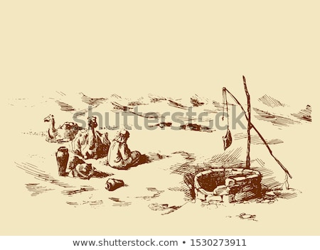 ラクダ 砂漠 シーン 実例 自然 背景 ストックフォト © bluering
