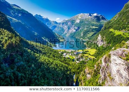 Kilátás turista falu népszerű turisztikai attrakció Norvégia Stock fotó © Kotenko