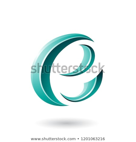 Persian Green Glossy Crescent Shape Letter E Vector Illustration Stock photo © cidepix
