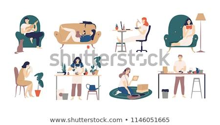 Lány olvas rajzolt emberek karakter izolált illusztráció Stock fotó © Decorwithme