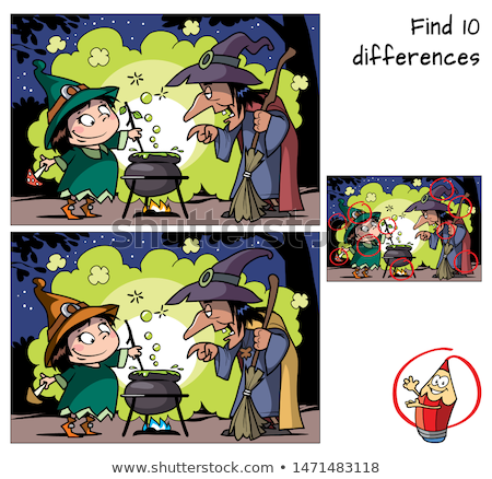differences game with halloween characters coloring book stock photo © izakowski