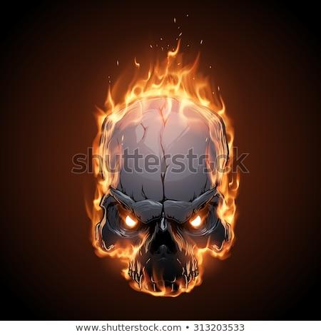 Koponya tűz fej csontváz láng lángoló Stock fotó © popaukropa