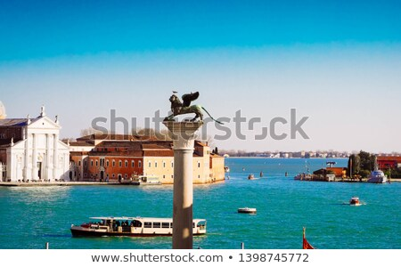 colum with winged lion venice italy stock photo © neirfy