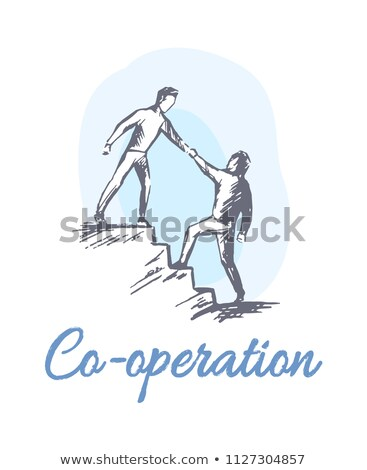 cooperation sketch with men go up stairs together stock photo © robuart