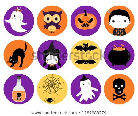 cute halloween vector icons in flat style   round circle shapes stock photo © pravokrugulnik