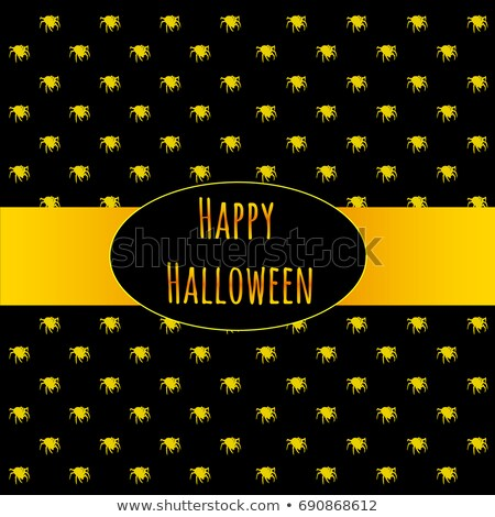 poster on theme of halloween holiday party or greeting card with silhouettes of spiders crawling in stock photo © lady-luck